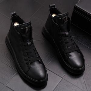 Herren Martin Schuhe, Jugend Lederstiefel, Trend Knöchel Oberlederschuhe, dicke Sohlen Jeans, beiläufige Schuhe der Männer mit weichbesohlten Board Schuh 43W31