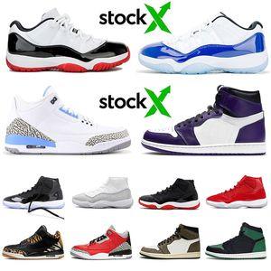 2020 Jordan 3 UNC Sapatos Nova chegada Jumpman AIR Jordan 11 LOW WMNS CONCORD Tênis de basquete para mulheres 2019 Bred 11s Court Purple Jordan 1 Travis Scott 1s Sapatilhas