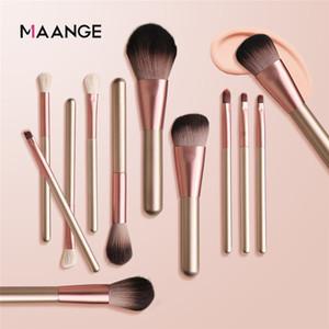 Maange 12 PCS set Make up Brushes Set Makeup Foundation Blush Powder Eye Shadow Tool Kit Soft Dalicate Brush