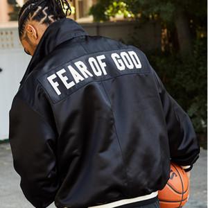 De calidad superior FOG CHAQUETA temor de Dios 5º Tema chaqueta del béisbol de seda FOG Highstreet para hombre flojo HFWPJK097 Escudo