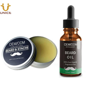 MOQ 100pcs OEM Customized Private Label Beard Oil & Beard Balm Custom LOGO Natural Organic Ingredients Mustache Wax & Oil 30g 1oz for Amazon