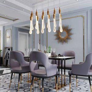 Luxury Modern Led Grande scala di cristallo Lampadario Illuminazione Lungo Goccia d'acqua Apparecchi Cucina isola ristorante