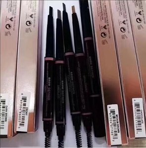 Maquilladores de lápices de cejas Corte libre Automáticamente en espiral Cejas flacas Lápiz dorado doble acabado con cepillo de cejas