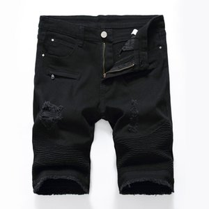 Los nuevos Mens Solid Jeans pantalones casuales pantalones cortos de mezclilla pantalones Slim Fit Gym Plus Tamaño longitud de la rodilla Pantalones cortos de verano