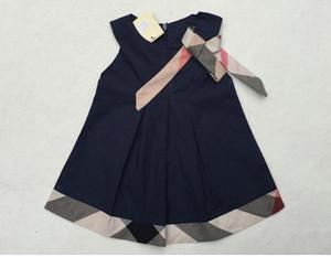 Le nuove ragazze di estate vestono i vestiti da bambino Plaid casuale Vestiti del neonato del neonato Etichetta del progettista della ragazza Vestiti dei bambini Vestiti dei bambini di modo