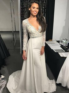 Beading Long Sleeve Prom Dresses Floor Length V Neck Formal Party Prom Dress Elegant Dubai Evening Dress