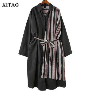 [XITAO] Kore Moda Kadın Gündelik Elbise İlkbahar Yaz Yeni Tam Kollu Turn-down Yaka Çizgili Patchwork Bandaj Elbise LYH3233