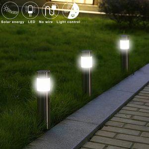 2W LED solaire Eclairage de jardin en acier inoxydable Stud Lampe de pelouse IP65 étanche Lumières de jardin solaire LED lampe extérieure