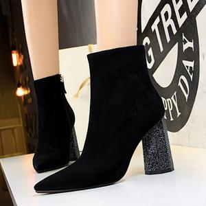 Zapatos italianos mujeres diseñadores zapatos mujer botas rhinestone heles tacones zapatos de mujer botas de invierno botines de mujer para mujer botas mujer
