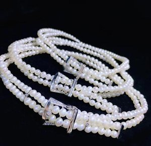 New Fashion 2 layer Wedding Brida Jewelry pearl Necklaces choker Cubic Zircon Micro Pave Setting Women Party Accessories