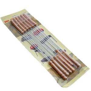 Barbecue in acciaio inox Spiedini arrosto Barbecue String con manico in legno barbecue Stick Aghi di campeggio esterne Uscite Strumenti di cucina