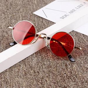 Frame Moda Crianças redondos óculos Meninas dos doces cor da lente óculos de sol do metal pára-sol Óculos Meninos de viagem Óculos TTA-1024