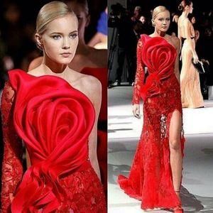 Vestidos de baile 2020 de un hombro grande del arco individual de la manga de encaje rojo apliques delantero de Split Personalizar los vestidos de noche vestidos de la celebridad
