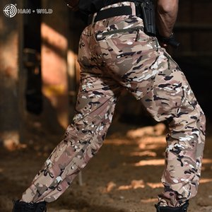 HAN WILD Camo Joggers Pants Hiking Cargo Pants Mens Black Camouflage Cotton Men's Cargo Trousers with Pockets