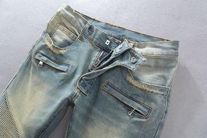 Erkekler Kot Yıkanmış Kot Pantolon Gençlik Erkek Yırtık Kot Vogue Dizler Yırtık Kırık Tasarım Pop Ağartılmış Sıkıntılı Kot Yırtık