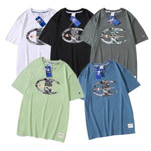 Камуфляж Чемпионов письмо футболка хлопок хлопок летняя футболка Мужчины Женщины футболки с коротким рукавом O-образным вырезом топы тройники свободные дизайнерские футболки 2XL