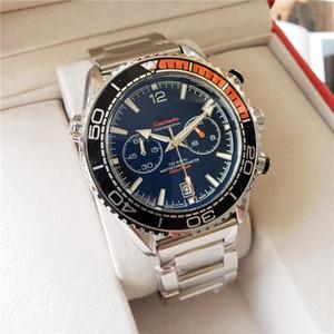 mar OMG 007 Todos los diales de trabajo para hombre relojes de lujo Cronómetro inoxidable lleno de la banda de acero del cuarzo del reloj de la fecha auto reloj de pulsera para el regalo de los hombres