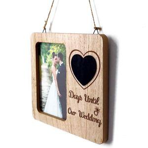 Frame do ornamento Amor de retrato de madeira presentes Photo Retro noivado Wall Decor País casamento contagem regressiva Blackboard