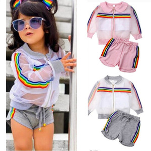 Summer Kids Girls Sun Protection 3 pieces Clothing Sets Rainbow Stripe Zip Jackets+Crop Vest+Drawstring Shorts Outfits Child Cloth E22504