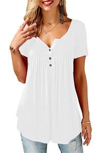 camisas de manga verano de las mujeres con cuello en V corta T atractiva floja de la camiseta feminina T Shirts Mujer del tamaño extra grande 5XL estilo largo Tops