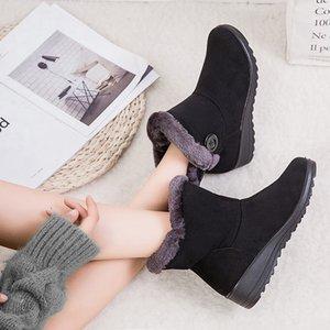 Women Snow Boots Warm Short Fur Plush Winter Ankle Boot Plus Size Platform Ladies Suede Shoes Female Comfort Drop Shipping K12