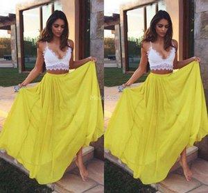 Encaje Dos pedazos de vestidos de baile moderno cuello en V profundo Beach Estilo ocasión especial vestido de Bohemia del partido formal del vestido de noche Vestidos de Fiesta