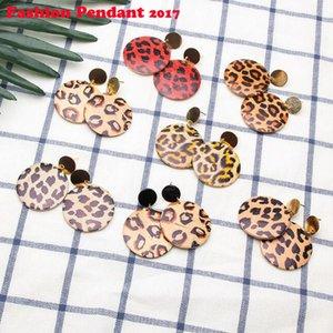 2019 Corea Moda Mujer Pendiente Redondo Negro Círculo Geométrico Estampado de leopardo Pendientes de Gota de Madera Para Las Mujeres Joyería