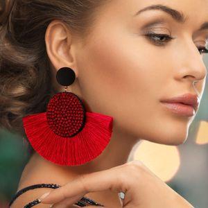 Joyería pendientes BICUX moda bohemia borla grande cristalino Negro de seda blanco de tela roja gota cuelga la borla pendientes para las mujeres