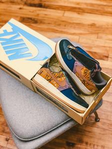 Travis Scott X 1 Low Cactus Jack Zipper scarpe da corsa Houston Oilers scarpa da basket Media oliva policroma Oro Toe sneaker size36-45