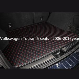 Volkswagen Touran 5 places voiture 2006-2015year tapis anti-dérapant mat tapis de coffre de voiture en cuir sol personnalisé antidérapant approprié
