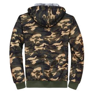 Hommes Manteau d'hiver Camouflage Casual Manteau Veste à capuche Fermeture à glissière souple polaire chaude Épaissir hommes Parka Pardessus Taille asiatique M-5XL