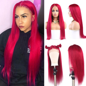 13x4 Lace Frontal Wigs 99J Burgundy Pre Plucked Brazilian Straight Lace Front Human Hair Wigs African American Women Wigs Remy