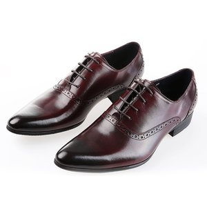 Large Size Eur45 Brown Tan   Black   Brown Mens Dress Shoes Genuine Leather Oxford Business Shoes Mens Wedding Shoes
