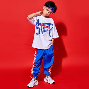 Hip Hop niños ropa deportiva moda calle desgaste Hiphop guapo camiseta pantalones niños rendimiento danza Cosutme verano BL3346