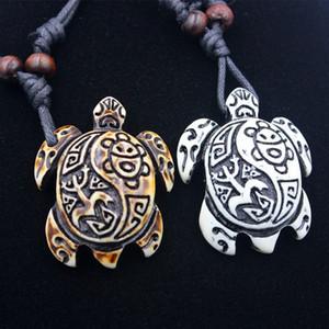 Collar tribal de la tortuga imitación Yak Bone Blanco Marrón Tallado encantos tortuga collar de los colgantes del amuleto de la vendimia Regalo Bendición joyería afortunada