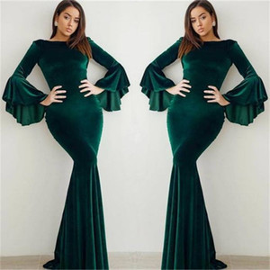 Elegantes Dunkelgrün Plus Size Mermaid Prom Dresses Lange Jewel Neck Bodenlangen Long Bell Sleeves Abendkleider Party Kleider Günstige