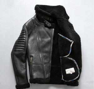 США B3 AVIREXFLY мужчины кожаные куртки куртки диагональная молния овец стрижка мех стекаются овчины натуральная кожа