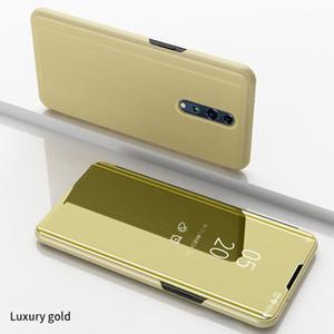 Revestimiento del tirón de lujo Smart View espejo transparente claro de la caja del teléfono de la cubierta completa de pata de cabra cuero de la PU para OPPO Reno Z