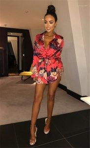 Longo SleeveClothing Acima do joelho Moda Casual Vestuário Womens Summer Flower Imprimir Blet Vestidos Sexy Pescoço V
