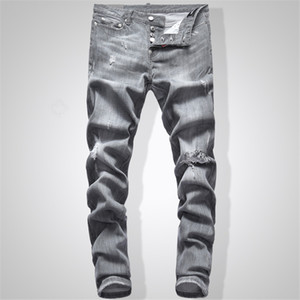 Grau Jeans Männer Slim Fit Denim Solid Color Hip Hop Street Biker Jeans 744 #
