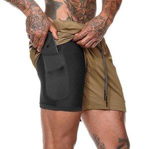VICTORWID: Мужские шорты для бега 2-в-1, двухслойные шорты с карманами для фитнеса, твердые камуфляжные шорты для фитнеса