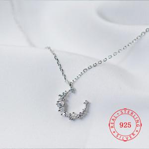 piccola luna collana catena di fascino per le ragazze delicate 925 all'ingrosso collana a catena in argento clavicola
