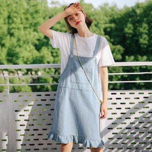 Sommerkleid 2019 Korean Style Frauen Casual Tasche Rüschen Spaghetti Strap Hosenträger Denim Kleid Blue Jeans Vestidos D459