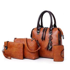 Vintage 4 unids bolso conjunto mujeres Pu cuero bolsa de hombro para mujeres 2019 monederos y Hnadbags G500 J190716