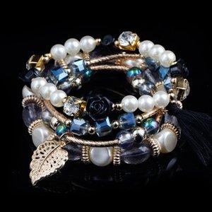 Mão jóias de estilo coreano Versitile Moda Imitação Pérola Alloy Bracelet Pulseiras Multi-cor selecionável Mulheres Bracelet