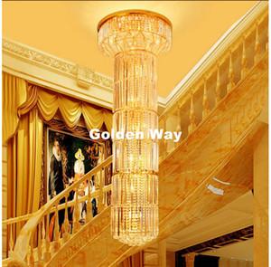 D600mm H2000mm Goldene Modern Hotel Kristall-Kronleuchter Pendelleuchte E14 LED Hotels Chandelier AC 100% garantiert Kostenloser Versand