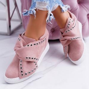 컴포트 무사 신발 플랫 신발 Y200108에서 여성 증가에 MoneRffi 2019 여름 여성 스니커즈 여성 스웨이드 나비 넥타이 슬립