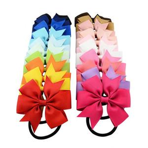 20 Renkler 8 cm Katı Amigo Şerit Yaylar Grogren Cheer Yaylar Tie ile Elastik Bant Kızlar Lastik Saç Bandı FJ443