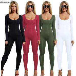 Salopettes pour les femmes sexy noire à manches longues femmes Jumpsuit Blanc Vert Barboteuses femmes Jumpsuit longues Pantalons Couleurs solides