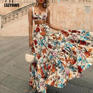 Bohémien Imprimé Floral Deux Pièces Ensemble Femmes Bretelles Sexy Crop Top Et Taille Haute À Volants Maxi Jupe Costumes Summer Beach Party Tenues